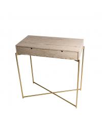 Schubladen-Konsole aus verwitterter Eiche mit goldenen gekreuzten Beinen