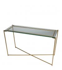 große Konsole mit Glasplatte und goldenen gekreuzten Tischbeinen