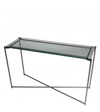 große Konsole mit Glasplatte und anthrazit-farbenen gekreuzten Tischbeinen