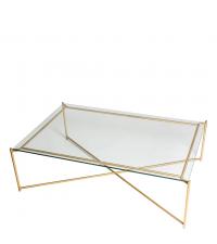 großer Couchtisch mit Glasplatte und goldenen gekreuzten Tischbeinen