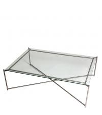 großer Couchtisch mit Glasplatte und anthrazit-farbenen gekreuzten Tischbeinen