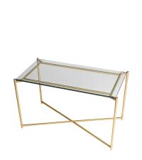Couchtisch mit Glasplatte und goldenen gekreuzten Tischbeinen