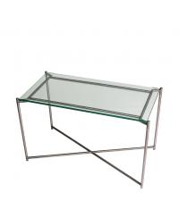 Couchtisch mit Glasplatte und anthrazit-farbenen gekreuzten Tischbeinen