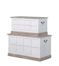 2 Truhen im Landhausstil Shabby-Style weiß Bettbank