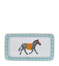 Teller aus Keramik mit Ethno-Zebra-Print