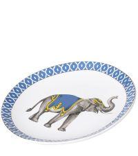 runder Deko-Teller aus Keramik mit Ethno-Elefant-Print