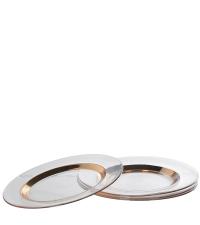 transparenter Teller aus Glas mit Kupfer-Umrandung