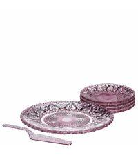 Tellerset aus rosa Glas mit Verzierung