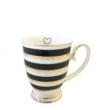weiß-schwarze Tasse mit goldenen Verzierungen und geschwungenem Griff