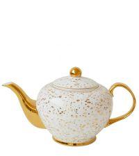 weiße Teekanne mit Goldtupfen und goldenen Elementen