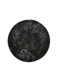 kleiner Speiseteller aus Steingut in Marmor-Optik, schwarzer Teller mit weißer Musterung rund