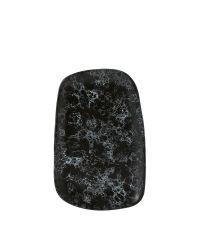 große Speiseplatte aus Steingut in Marmor-Optik, schwarzer Teller mit weißer Musterung