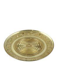 Teller aus goldenem Glas mit Verzierung