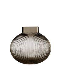 große bauchige Vase mit Rillenmuster aus getöntem Glas, taupe