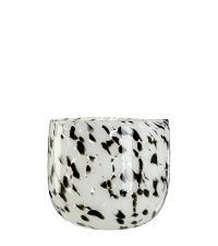 Vase aus massivem, klaren Glas mit Musterung in schwarz & weiß