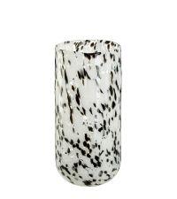 groß Vase aus massivem, klaren Glas mit Musterung in schwarz & weiß