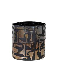 runde, schwarze Vase mit abstrakter Musterung
