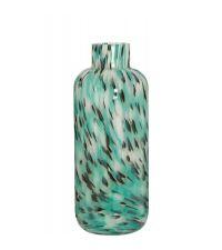 große Vase aus massivem, klaren Glas mit Musterung in türkis, weiß & schwarz