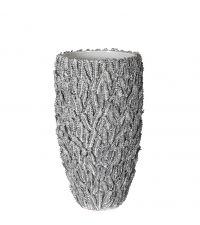 große, handgefertigte Vase mit Farn-Struktur