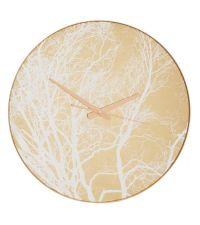 runde goldene Wanduhr, Ziffernblatt mit Ästen verziert