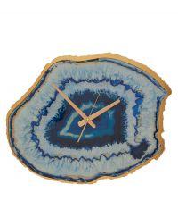 Wanduhr im Achat-Look mit goldenem Rahmen und Ziffern, dunkelblau