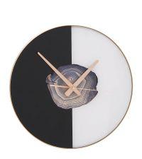 runde Wanduhr in schwarz & weiß mit Achat-Optik Detail
