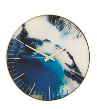 runde Wanduhr mit Marmorierung & goldener Einfassung, blau