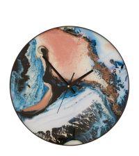 runde Wanduhr mit Marmorierung in blau, braun & gold