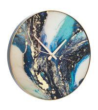 runde Wanduhr mit Marmorierung in blau, türkis, schwarz & gold
