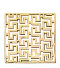 glänzender Topfuntersetzer aus poliertem Messing mit geometrischem Muster im Art-Deco-Stil, gold