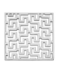 glänzender Topfuntersetzer aus poliertem Messing mit geometrischem Muster im Art-Deco-Stil, silber vernickelt