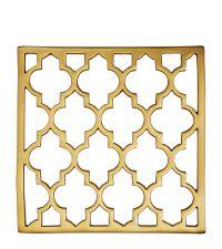 glänzender Topf-Untersetzer aus poliertem Messing mit Trellis-Muster, gold