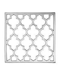 glänzender Topf-Untersetzer aus poliertem Messing mit Trellis-Muster, silber vernickelt