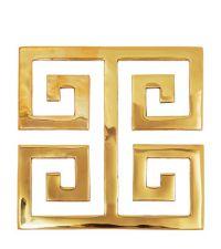 gold glänzender Topfuntersetzer aus poliertem Messing mit geometrischem Muster