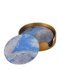 4 Glas-Untersetzer in Marmor-Optik, blau