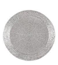 rundes Tischset aus schimmernden Perlen, hell silber