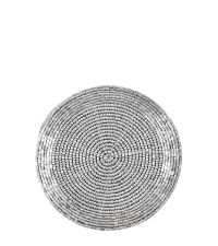 4er-Set runde Untersetzer aus schimmernden Perlen, hell silber