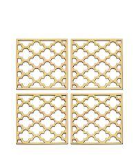 glänzendes 4er-Set Glas-Untersetzer aus poliertem Messing mit Trellis-Muster, gold