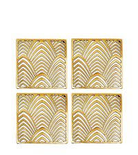 glänzendes 4er-Set Glas-Untersetzer aus poliertem Messing mit Palmblatt-Muster, gold