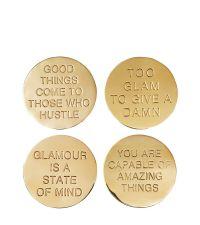 glänzendes 4er-Set Glas-Untersetzer aus poliertem Messing mit verschiedenen Sprüchen, gold