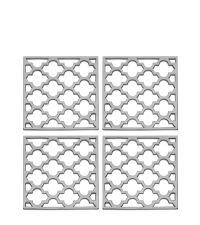 4er-Set Glas-Untersetzer mit Trellis-Muster, silber vernickelt