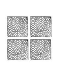 schimmernde Glas-Untersetzer aus poliertem Messing mit Palmblatt-Muster, silber vernickelt