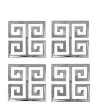 4er-Set schimmernde Glas-Untersetzer aus poliertem Messing mit geometrischem Muster, silber vernickelt