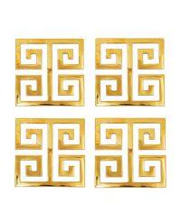 glänzendes 4er-Set Glas-Untersetzer aus poliertem Messing mit geometrischem Muster, gold