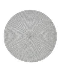 rundes gewebtes Tischset, Untersetzer mit metallischem Effekt, silber