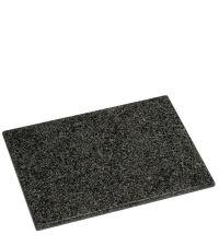 rechteckiges Schneidebrett in gesprenkelter Optik aus schwarzem Granit