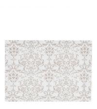 Baumwoll-Tischset in weiß mit Damast-Muster in taupe