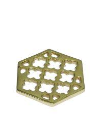 4er-Set goldene Untersetzer aus Metall mit Trellis-Muster