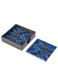 4 quadratische Glas-Untersetzer mit Marmorierung in blau, schwarz & gold