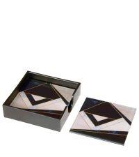 4 quadratische Glas-Untersetzer mit Marmorierung in rosa, weiß, schwarz & gold
